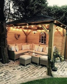 Patio Diy, Cozy Patio, Backyard Gazebo, Backyard Patio Designs, Small Backyard Landscaping, Pergola Designs, Pergola Patio, Pergola Plans, Pergola Kits