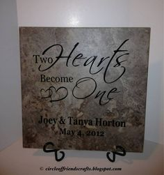Photo on Two Hearts Become One - Wedding Tile Tile Projects, Vinyl Projects, Circuit Projects, Tile Crafts, Vinyl Crafts, Cricut Vinyl, Friend Crafts, Cricut Wedding, Vinyl Quotes
