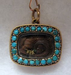 1823 GEORGIAN/REGENCY 18k Yellow Gold and Turquoise Mourning Pendant/Brooch --