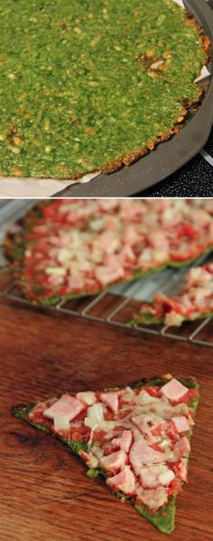 Spinach Crust Pizza! Gluten Free and super healthy! Crispy spinach is so delicious with marinara sauce and cheese on it! | Recipe by Photo