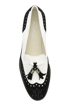Black and white tassle loafer