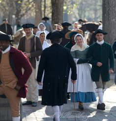 A busy city street scene in Colonial Williamsburg's Historic Area. Williamsburg, Virginia. Photo by David M. Doody