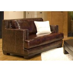 Elements - Emerson Top Grain Leather Accent Chair in Saddle #EME-SC-SADD-1-NH025