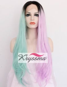 K'ryssma Ombre Synthetic Lace Front Wigs For Women Dark Roots Half Green Half Pink Color Half Hand Tied Heat OK Natural Straight Fiber Hair 3 Tones 24 Inch