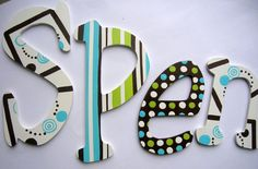 Custom hand painted wooden letters  stripes