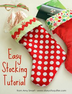 Today I'm sharing a super EASY method for making lined stockings. This little stocking is a festive way to hold gift cards, some treats, or any other small gift you want to dress-up a little.  The great thing about this method though, is that you can blow-up the stocking pattern and make stockings as big as you want by following the same, easy process. (And who doesn't sometimes want new, hip stockings to impress Santa?) So start by printing the stocking pattern (click here for template) -or…