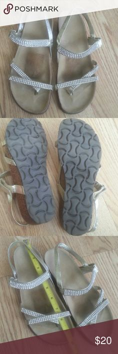 Very comfortable sandals with rhinestones Pre owned, good condition, dark spots of the labels, no size, but will fit 7,7/5, check pic #3,  no rhinestone missing Shoes Sandals