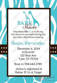 Wild Blue Safari Baby Shower Invitation by MadeFromTheHeartxo