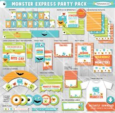 ON SALE Little Monster Birthday Party Decorations | Printable Boys Monster Party Package | Invitation Available | Instant Download