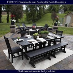 Berlin Gardens Mission Family Dining Set - there's room for everyone around this grand dining set!  Amish made from recycled polywood material for all weather performance!