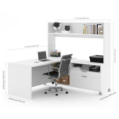 Pro-Linea L-Desk w/ Open hutch in White - Bestar has all the elements to create a modern and refined work environment. The clean lines of this collection bring a fresh look without compromising functionality and durability. The desk is Office Desk With Hutch, L Shaped Office Desk, Computer Desk With Hutch, Desk Hutch, L Shaped Desk, Office Table, Home Desk, Home Office Desks, Home Office Furniture