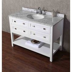"Stufurhome Marla 48"" Single Sink Bathroom Vanity with Mirror - White 