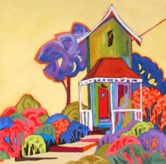 Daily Painting, Little House on the Hill, whimsical landscape painting, painting by artist Carolee Clark Paintings I Love, Original Paintings, Awesome Paintings, Flower Paintings, Amazing Art, Daily Painters, Naive Art, Whimsical Art, Landscape Paintings