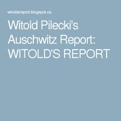 Witold Pilecki's Auschwitz Report: WITOLD'S REPORT