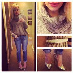 Sweater: Gabes, Jeans: American Eagle, Pumps: BCBG via DSW, Lips: Lancome 'Chateau Peony'