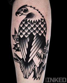 Mike Adams // traditional bald eagle // Black white tattoo // Americana Traditional Tattoo Black And White, Traditional Eagle Tattoo, Bird Of Prey Tattoo, Type Tattoo, F Tattoo, Tattoo Blog, New Tattoos, Bird Tattoos, Animal Tattoos