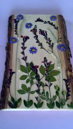 Hanging Pressed Flower Art on Basswood Barkside by FlowerFelicity, $39.99