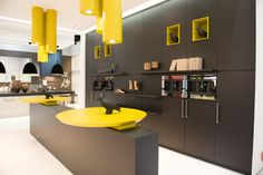 Color, cubicles, the tall back wall #modern #kitchen