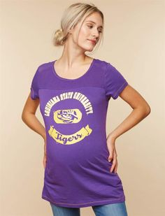 NCAA Motherhood Maternity LSU Tigers Mesh Detail Maternity Tee Graphic Tees 9e234142f