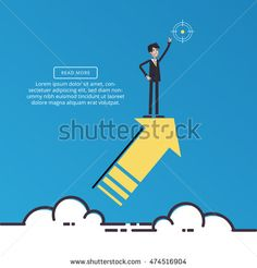 Reaching the target. Business concept. Vector illustration of a flat design