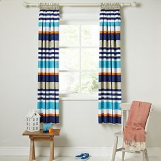 Buy little home at John Lewis Waves & Whales Striped Pencil Pleat Blackout Lined Children's Curtains Online at johnlewis.com