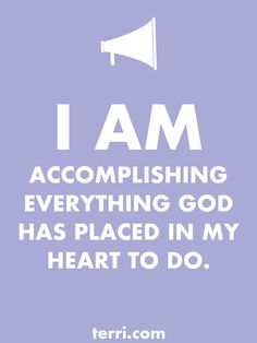 I AM ACCOMPLISHING EVERYTHING IN MY HEART! Your words are powerful and the words you speak about yourself are even more powerful. Discover what to say from God's Word about your freedom, faith, finances, family, fitness, and your future dreams and goals. Program your mind for success through positive declarations and affirmations to become happier, healthier, and more productive today! Click on the Pin to order my book Pep Talk & find out more about affirmations.