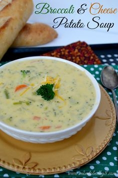 Broccoli & Cheese Potato Soup Recipe | Mom To Bed By 8