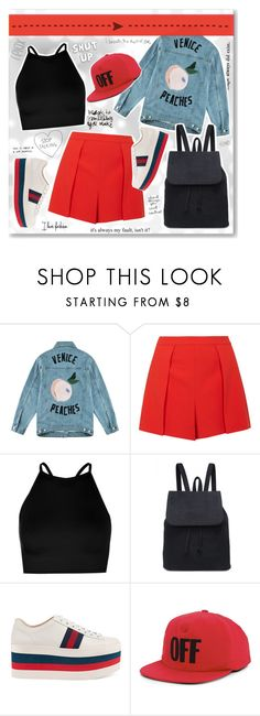 """- Shut up -"" by fashionablemy ❤ liked on Polyvore featuring INDIE HAIR, Être Cécile, Alice + Olivia, Boohoo, Gucci, Off-White, red and blackandred"