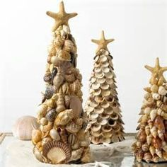 sea shells crafts ideas - My aunt made these one year for Christmas and dusted it with glitter. Every year I bring it out and its still as beautiful as the day she gave it to us. Thanks aunt porgie ... She used a cone shaped styrifoam and hot glued the shells on. (picture from Bing)