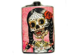 Day of the Dead Decorated 8oz. Flask - La Novia - FD284 . $18.00. This very unique flask is decorated with a durable image on the front only. The flask holds 8oz of your favorite liquor.
