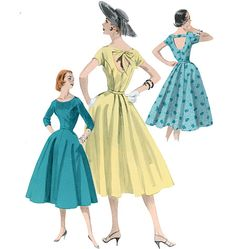 Butterick 5605 from Butterick patterns is a misses dress and belt Retro '56 sewing pattern