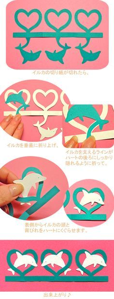 Dolphins. Japanese Kirigami Art. for Valentine Day.