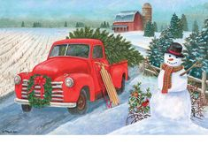 Country Christmas themed garden flag with an antique red truck hauling a freshly cut Christmas tree home to decorate for the season. The snow covered, plowed field, big red barn and friendly snowman s Christmas Red Truck, Christmas Scenes, Country Christmas, Outdoor Christmas, Christmas Pictures, Winter Christmas, Vintage Christmas, Christmas Clipart, Christmas Printables