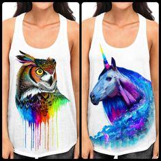 a636d97e06c38 Unicorn Galaxy + Rainbow Owl Flowy Racerback Tank. Electro ThreadsTank ...