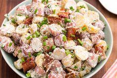 Serves 4 - 2lbs russet potatoes, 6 sl. bacon, 1c cheddar, 16oz sour cream, 1/2c chives, juice 2 lemons, 1/2 pkg. Ranch seasoning, K salt to taste, paprika.
