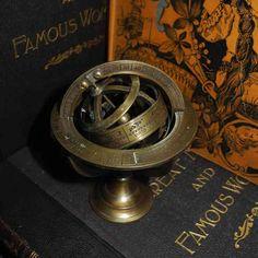 "Brass Armillary Sphere on Stand (H3"" x W3.5"") $81"