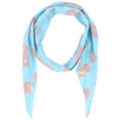 Blugirl Blumarine Oblong Scarf (4,105 INR) ❤ liked on Polyvore featuring accessories, scarves, sky blue, floral scarves, long shawl, oblong scarves, long scarves and blugirl