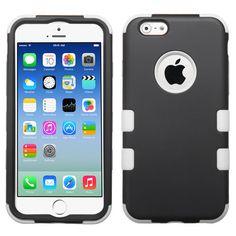 Black, White Rubber Hybrid Impact Defender Case For iPhone 6.