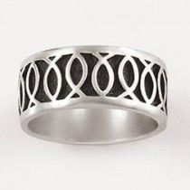 Up and down Ichthus Fish Sterling Silver Mens Christian Ring