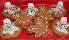 Christmas cookie idea- upside down gingerbread men make excellent reindeer