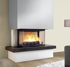 Turbo cast iron fireplace Thalia Wengé marble and white stone Provence, . Home Staging, Home Fireplace, Modern House Design, Wood Burning Stoves Living Room, Fireplace Design, Home Decor, Modern Foyer, Indoor Fireplace, Fireplace
