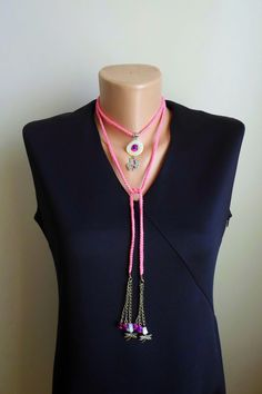 Long Crochet Necklace. Mother pearl circle metal by NMNHANDMADE, $19.00