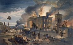Burning Public Library And Temple Of The Winds in Sevastopol during Crimea War 1855