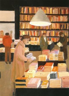 Bookstore (Reading Women) - Willy Belinfante Dutch, 1922-2014 Oil on canvas, 30 x 40 cm.