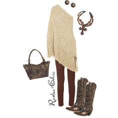 Rodeo-chic on Polyvore, Lane brass stud Rocker cowboy boots, @laneboots; Necklace, @rodswestern; crochet tunic dress and leggings, Western