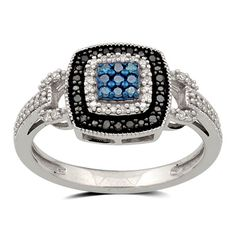 1/5 CT. T.W. Enhanced Black, Blue and White Diamond Double Frame Ring