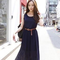 Buy 'REDOPIN – Set: Sleeveless Pleated Maxi Dress   Belt' with Free International Shipping at YesStyle.com. Browse and shop for thousands of Asian fashion items from South Korea and more!