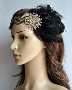 The Great Gatsby gold black headband 1920s by BlueSkyHorizons, $38.00