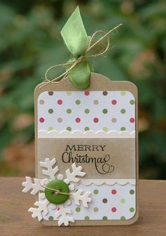 8 more Stamped Christmas Gift Tags – Stamping A handmade item during the Christmas season shows that you put a little extra thought and effort into that special gift. Even if you don't have time to make a handmade gift, try making a han… Diy Christmas Cards, Christmas Gift Wrapping, Christmas Paper, Xmas Cards, Handmade Christmas, Holiday Cards, Christmas Crafts, Merry Christmas, Holiday Gift Tags