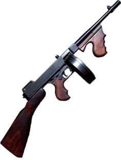 Thompson Sub-machine gun 'Tommy Gun', invented in 1919. The Thompson was favored by soldiers, criminals, police and civilians alike for its ergonomics, compactness, large .45 ACP cartridge, reliability, and high volume of automatic fire.